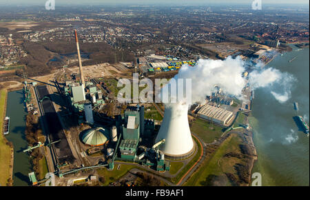 Aerial view, Kraftwerk Walsum with cooling tower and clouds of smoke,The Rhine,  STEAG power plant VI, Walsum, coal - Stock Photo