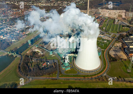 Aerial view, Kraftwerk Walsum with cooling tower and clouds of smoke, STEAG power plant VI, Walsum, coal power plant, - Stock Photo