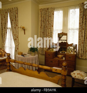 Floral Curtains On Window Above Dressing-table With Matching ...