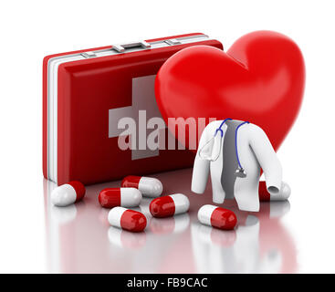 3d illustration. Heart, pills and First Aid Kit. Medicine concept. Isolated white background - Stock Photo