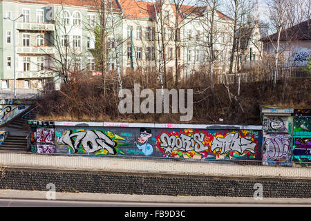 Elaborate graffiti at the side of Leipziger Str in Frankfurt (Oder), Germany - Stock Photo