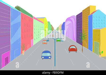 Urban landscape in flat design style, vector illustration. Modern city street with buildings, cars, skyscrapers - Stock Photo