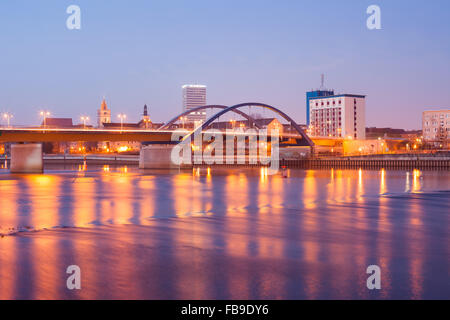 Frankfurt (Oder) waterfront with Oderbruecke and Oderturm - Stock Photo