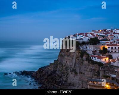 Azenhas do Mar village at dusk, Sintra Portugal - Stock Photo