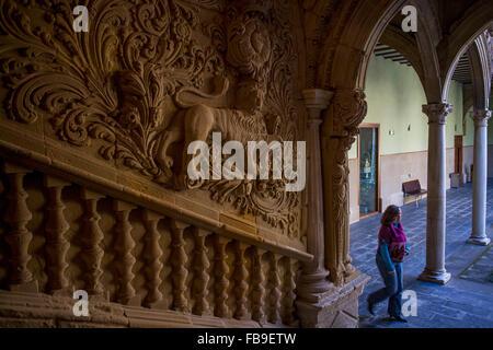 Detail in Courtyard of  Palacio de Jabalquinto (16th century), Baeza. Jaén province, Andalusia, Spain - Stock Photo