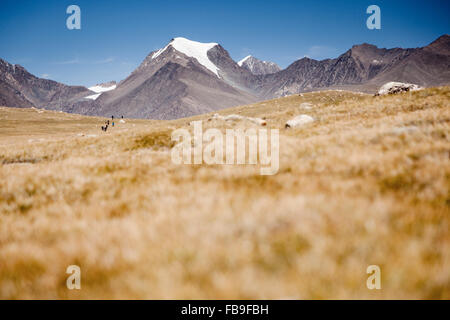 Hikers in the distance in Kharkhiraa Turgen National Park in remote far-western Mongolia. - Stock Photo