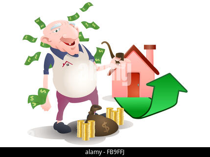 illustration of an old man investement on property over white background - Stock Photo