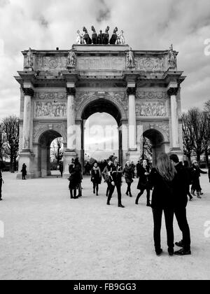 Daily live view of the Arc de Triomphe du Carrousel, outside the Louvre in Paris, France - Stock Photo