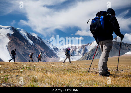 Hiking with Tim Cope on a high pass in the Kharkhiraa and Turgen National Park in the Altai Mountains, Uvs Province, - Stock Photo