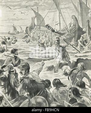 Roman invasion of Britain in Kent 55-54 BC - Stock Photo