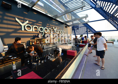 The beautiful 'Yangon Yangon' sky bar in Yangon's city center. - Stock Photo