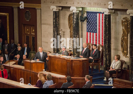 Washington DC, USA. 12th January, 2016. President Barack Obama appeared before the Joint session of Congress where - Stock Photo