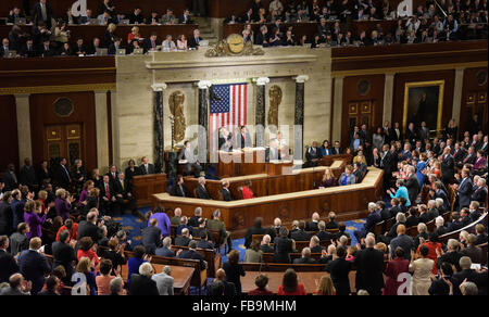Washington, DC, USA. 12th Jan, 2016. U.S. President Barack Obama delivers his State of the Union address to a joint - Stock Photo