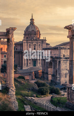 Rome, Italy:Santi  Luca e Martina Church in Roman Forum - Stock Photo