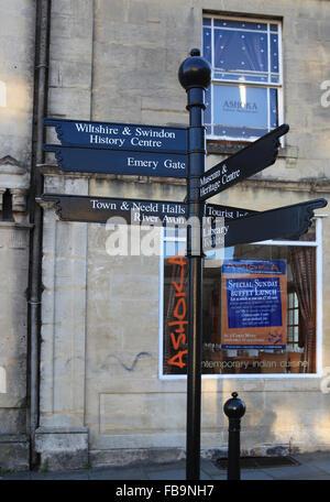 Sign Post in Chippenham Town Center - Stock Photo