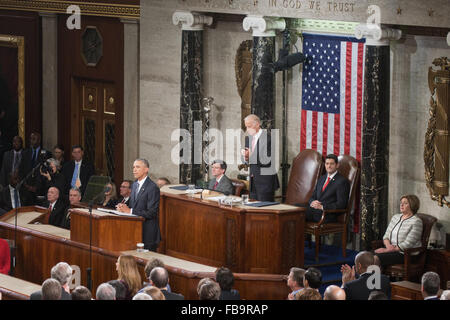 Washington DC, USA. 12th January, 2016. President Barack Obama delivers his final State of The Union . Photo Credit: - Stock Photo