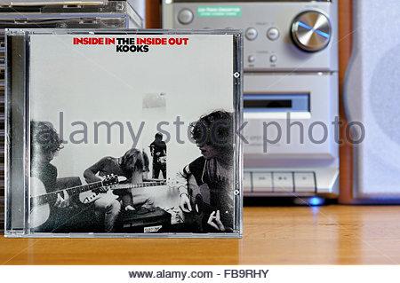 The Kooks 2006 debut album Inside In/Inside Out, piled music CD cases, Dorset England - Stock Photo