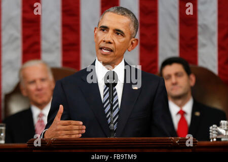 Washington DC, USA . 12th January, 2016. President Barack Obama delivers his State of the Union address before a - Stock Photo