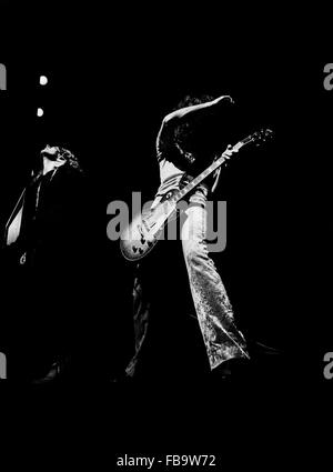 The guitarist Jimmy PAGE and the vocalist Robert PLANT (LED ZEPPELIN band) -  1969  -  France / Ile-de-France (region) - Stock Photo