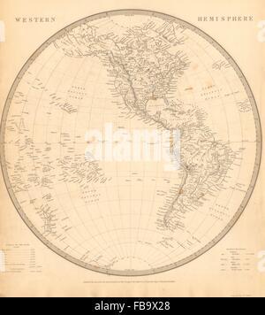 WESTERN HEMISPHERE. Americas Mexican Texas Pacific New Zealand. SDUK, 1844 map - Stock Photo