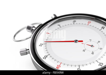 Stopwatch with the needle pointing 55 seconds. Object over white background with blur effet suitable for a time - Stock Photo