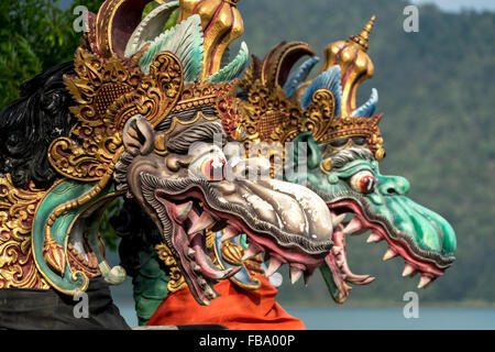 dragons at the water temple Pura Ulun Danu Bratan, Bedugul, Bali, Indonesia - Stock Photo