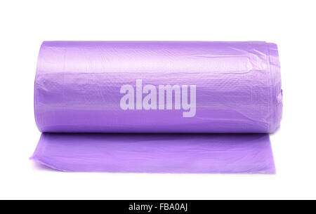 Front view of disposable trash bags roll isolated on white - Stock Photo