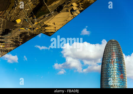Torre Agbar skyscraper designed by French architect Jean Nouvel, Barcelona, Catalonia, Spain - Stock Photo
