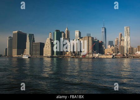 Lower Manhattan skyline from Brooklyn Bridge Park, Brooklyn, New York, USA - Stock Photo