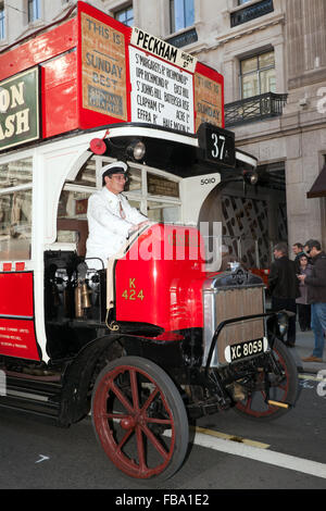 An AEC K-type, 1920 Omnibus, K424, on display at the Regents Street Motor Show 2015. - Stock Photo