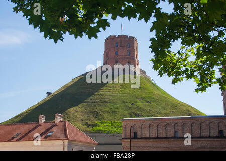Gediminas Tower and Hill, Vilnius, Lithuania - Stock Photo