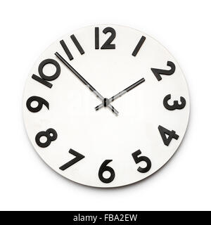 White clock face with black numbers isolated on a white background - Stock Photo