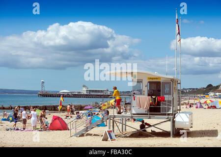 A Lifeguard hut on Bournemouth Beach UK - Stock Photo