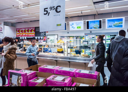 Paris, France, People Fast Food, Self Serve Cafeteria, Shopping in Modern DIY Housewares Store, IKEA, in Suburbs, - Stock Photo