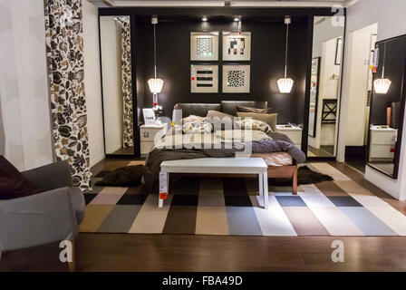 display bedroom in ikea furniture shop tottenham london england uk stock photo royalty free. Black Bedroom Furniture Sets. Home Design Ideas