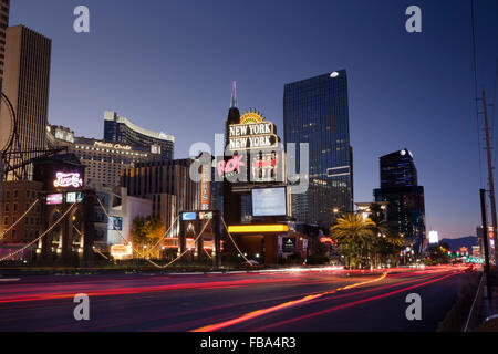 USA, Nevada, Las Vegas, View of city street at nigh - Stock Photo