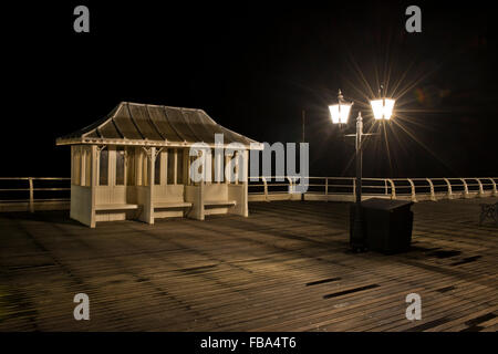 Night shot of Cromer Pier, Norfolk, UK - Stock Photo