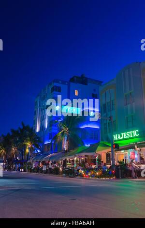 USA, Florida, Miami, Buildings along South Beach - Stock Photo