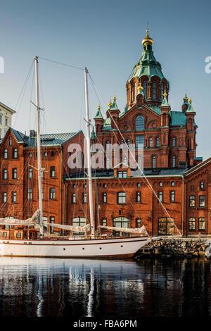 Finland, Helsinki, Skatudden, Uspenski Cathedral - Stock Photo
