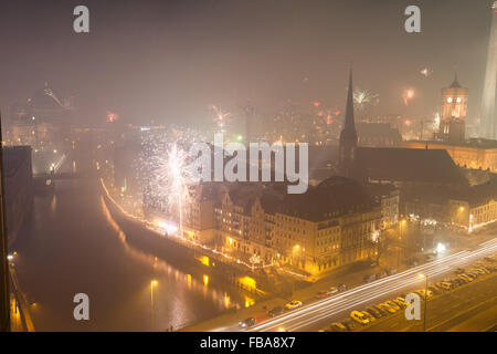 View over Berlin on New Years Eve 2013 with fireworks - Stock Photo