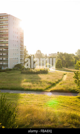 'Plattenbau' style apartment buildings in Frankfurt (Oder), former East Germany - Stock Photo