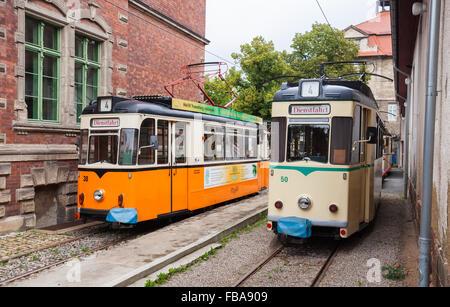 Vintage trolleys / streetcars / tram cars in Naumburg (Saale), Saxony-Anhalt, Germany - Stock Photo
