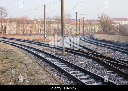 Streetcar rails in Frankfurt (Oder), Germany - Stock Photo