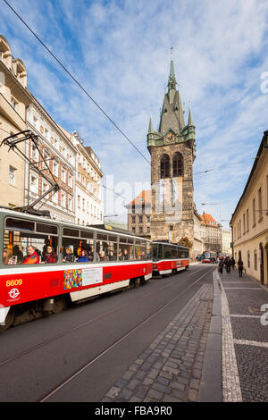 Jindrisska Tower in Prague with public transportation - Stock Photo