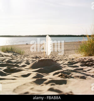 Finland, Pori, Yyteri, Sandcastle with feather on sandy beach - Stock Photo