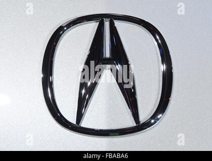 Detroit, Michigan, USA. 12th Jan, 2015. An Acura logo seen during the second press day at the North American International - Stock Photo