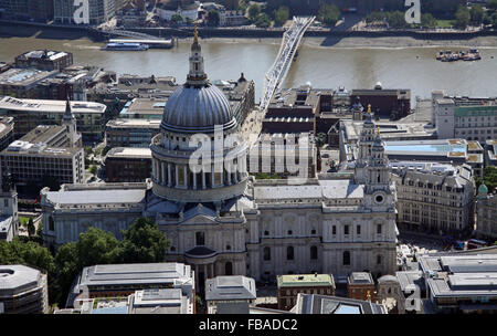 aerial view of St Paul's Cathedral looking south towards the River Thames, London, UK - Stock Photo