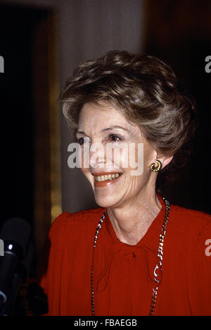 Washington, DC., USA, 12th January, 1984 First Lady Nancy Reagan in the East Room  of the White House during the - Stock Photo