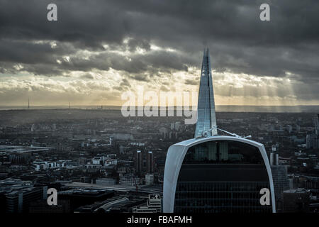 View across London cityscape, Walkie Talkie and the Shard - Stock Photo