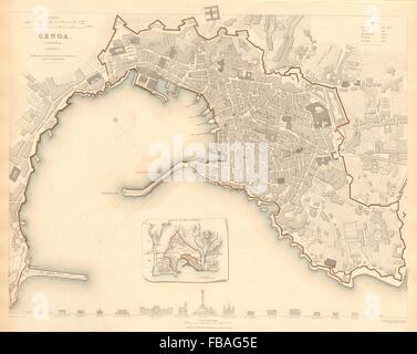 GENOVA (GENOA GÊNES) GÈNES. Antique town city map plan.Inset outworks.SDUK 1844 - Stock Photo